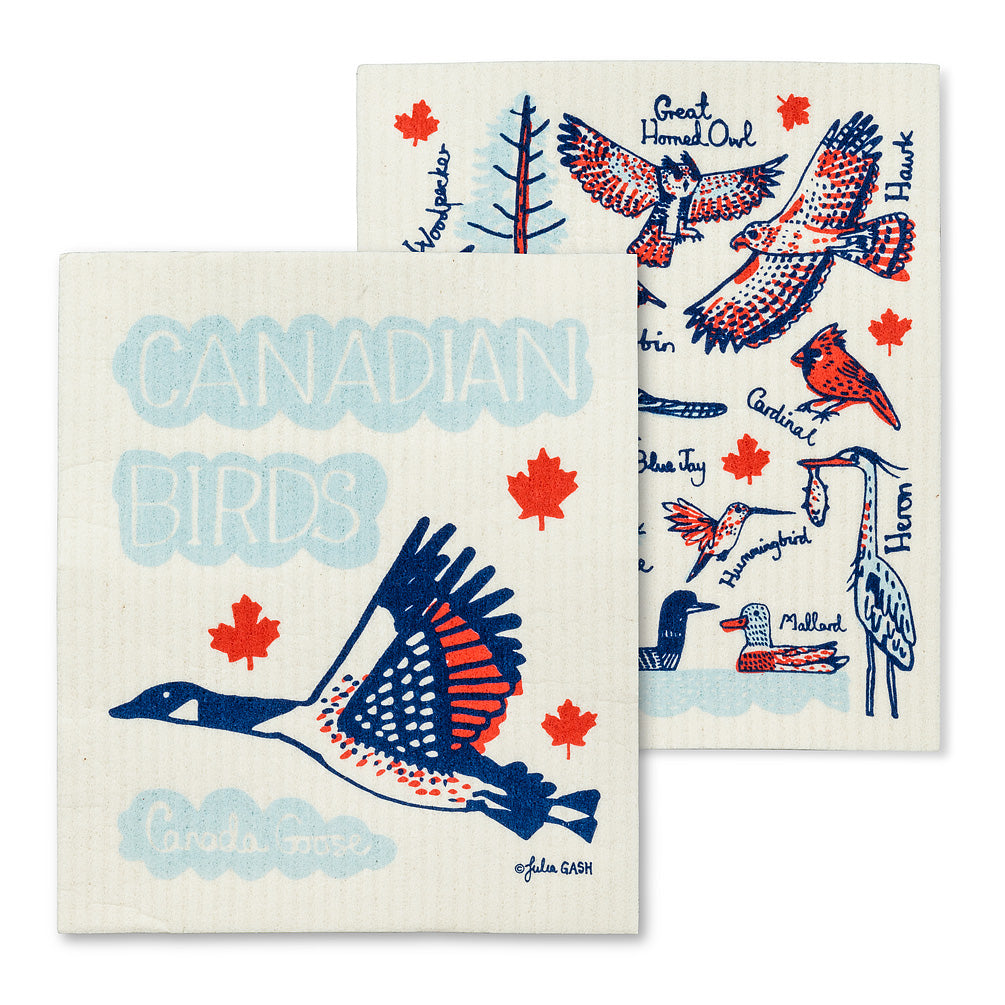 Swedish Dish Cloth Canadian Birds x2