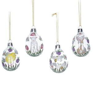 Ornaments Easter Egg Clear with Chick, Lamb, Bees or Rabbit