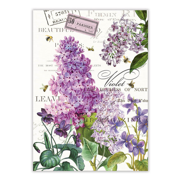 Lilac and Violets Tea Towel
