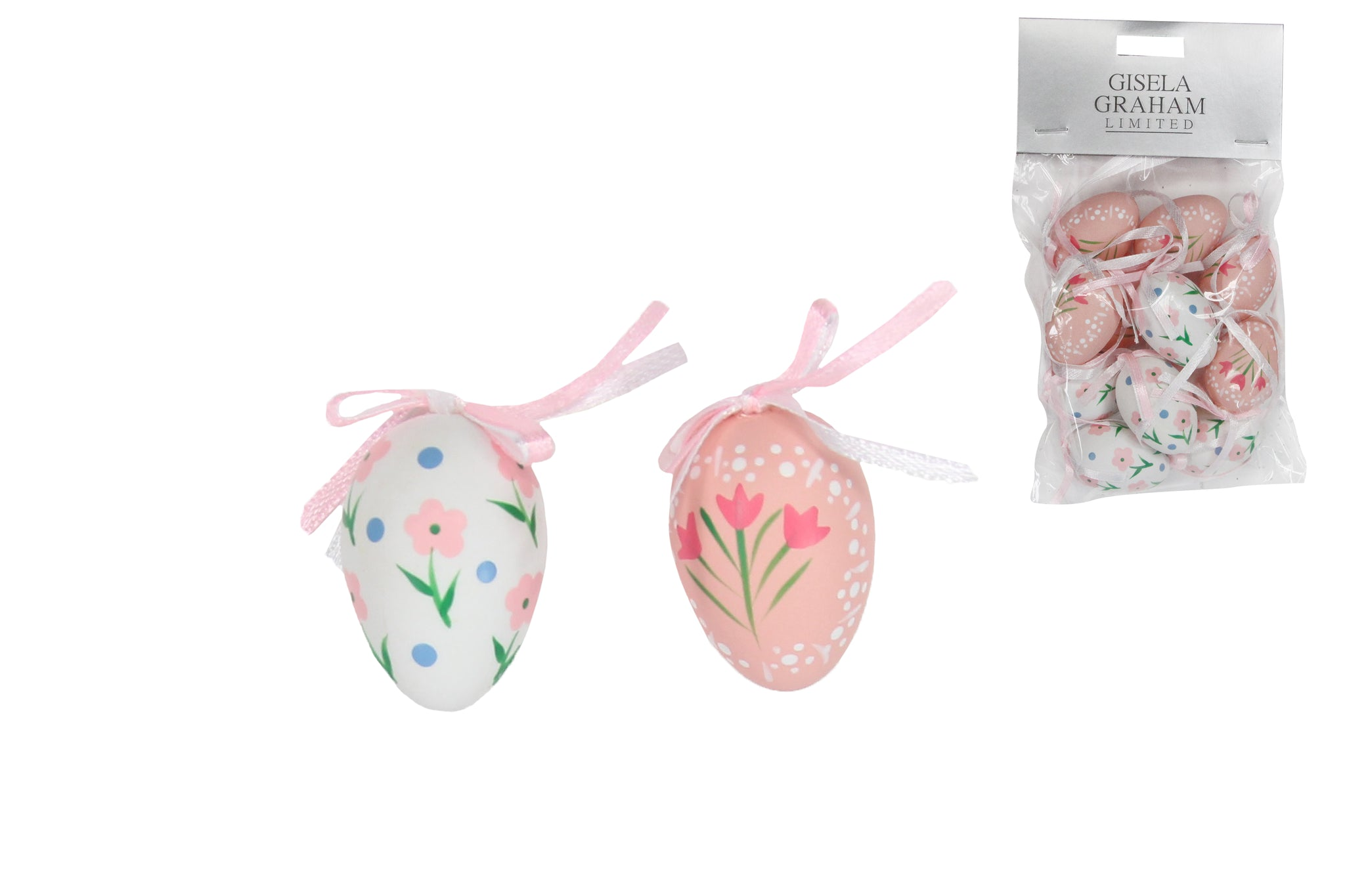 Ornaments Pink/White Floral Faux Mini Easter Eggs-Pk of 10