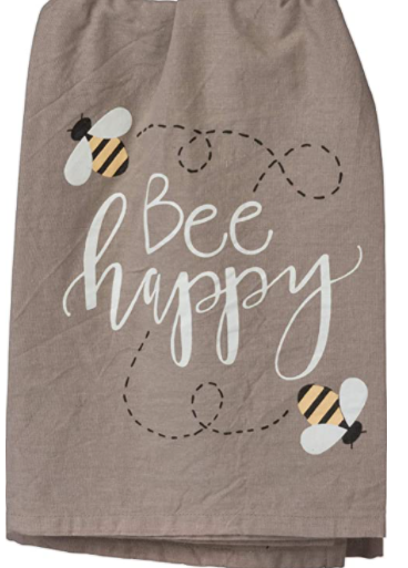 Tea Towel Bee Happy Grey
