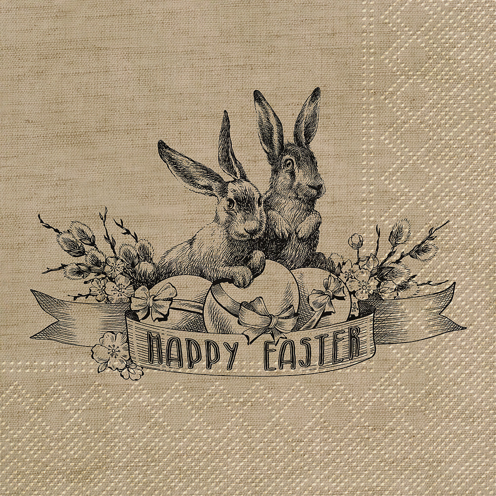 Napkin Vintage Rabbits Happy Easter