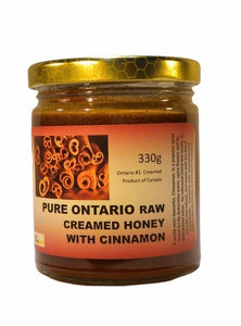 Pure Ontario Raw Creamed Honey with Cinnamon 330 g
