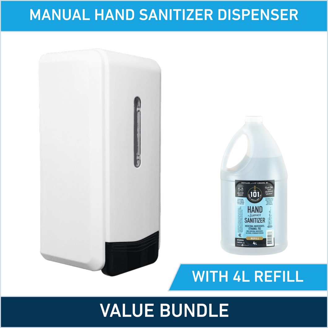 Manual Hand Sanitizer Dispenser + 4-Litre Refill