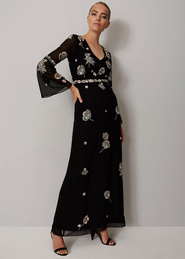 Miller Beaded Flower Maxi Dress