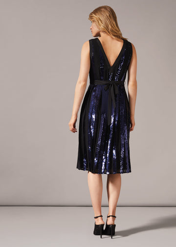 Alani Pleated Sequin Dress