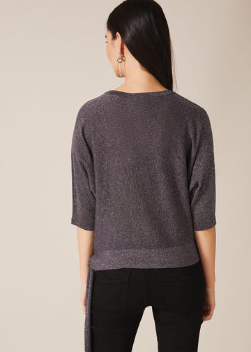 Harper Shimmer Side Tie Knit Top