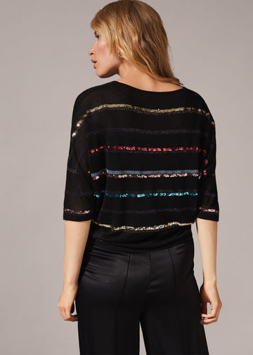 Sandy Sequin Stripe Knit Top