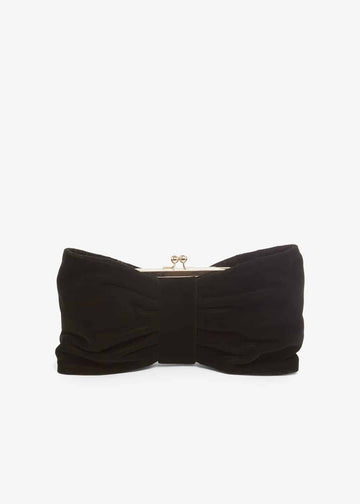 Suzie Velvet Bow Clutch Bag