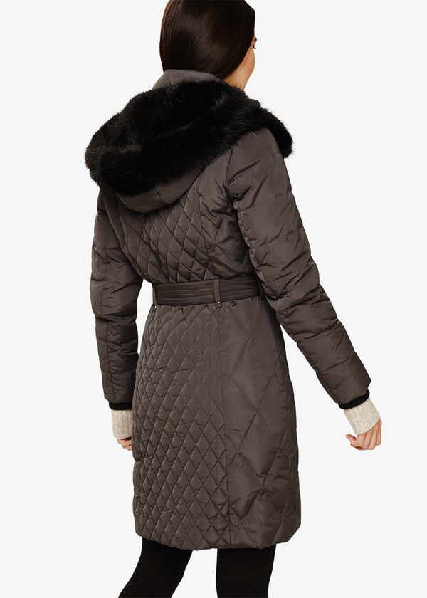 Davina Long Mixed Diamond Coat