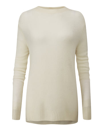 Organic Cashmere Dipped Hem Sweater