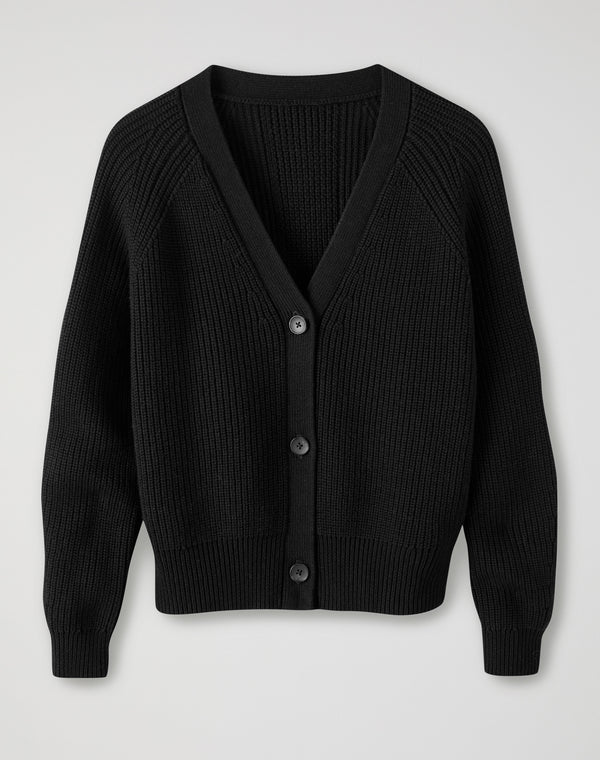 Ribbed Relaxed V Neck Cardigan