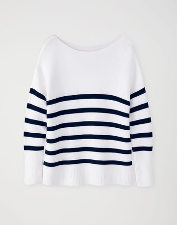 Cotton Boat Neck Textured Sweater