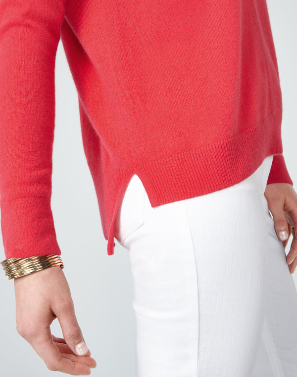 Cashmere Stepped Hem Sweater