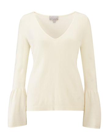 Flute Sleeve Cashmere Sweater