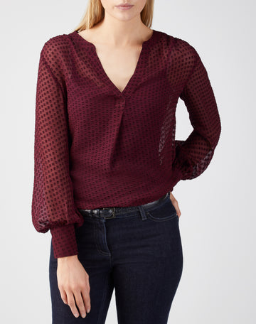 Silk Textured V Neck Blouse
