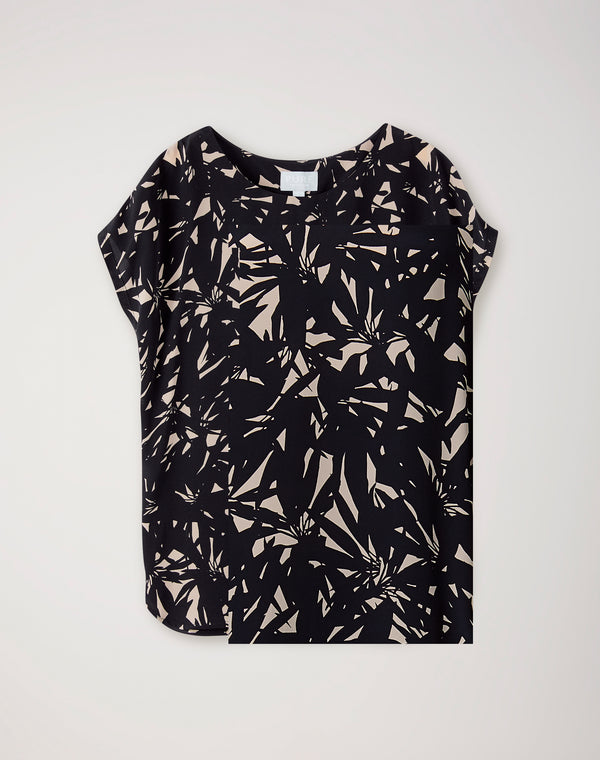 Silk Front Print Top