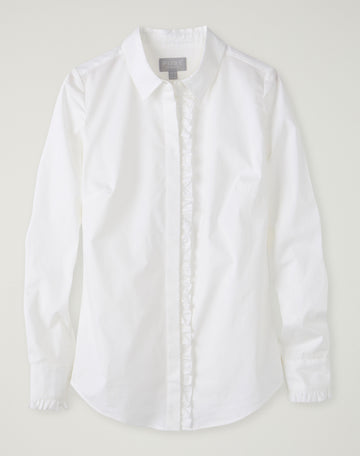 Cotton Ruffle Trim Shirt