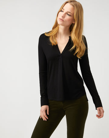 Jersey Open V Neck Blouse