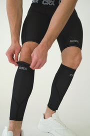 Men's CRX Black Elite Compression Calf Sleeves