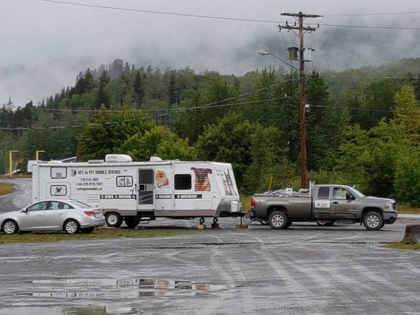 Vet To Pet Mobile Trailer and Truck in Parking Lot