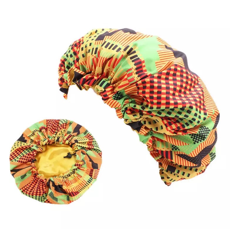 African Print Silk Double Layered Bonnet