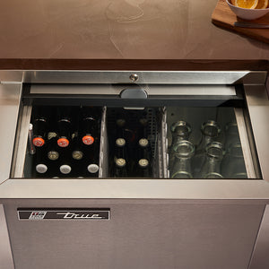 Slide-Top Beverage Refrigerator - Black -24-Inch
