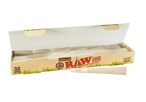 RAW Organic Hemp size 1 1/4 Pre Rolled Cones - 32 Pack