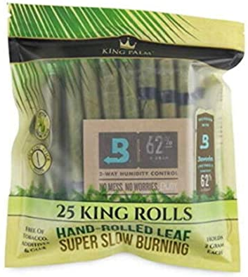 King Palm - Hand Rolled Palm Leaf Wrap Rolls - King Size - 25 Rolls/Pouch
