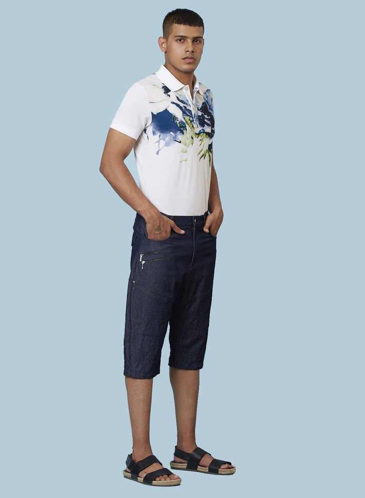 LANDON PRINTED DENIM SHORTS - Genes online store 2020