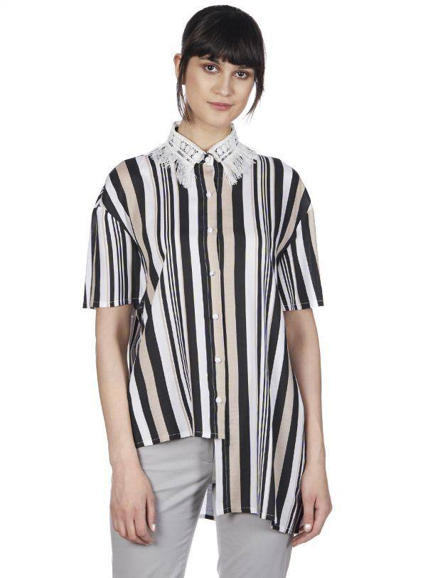 STRIPED STORIES COLLARED SHIRT - Genes online store 2020