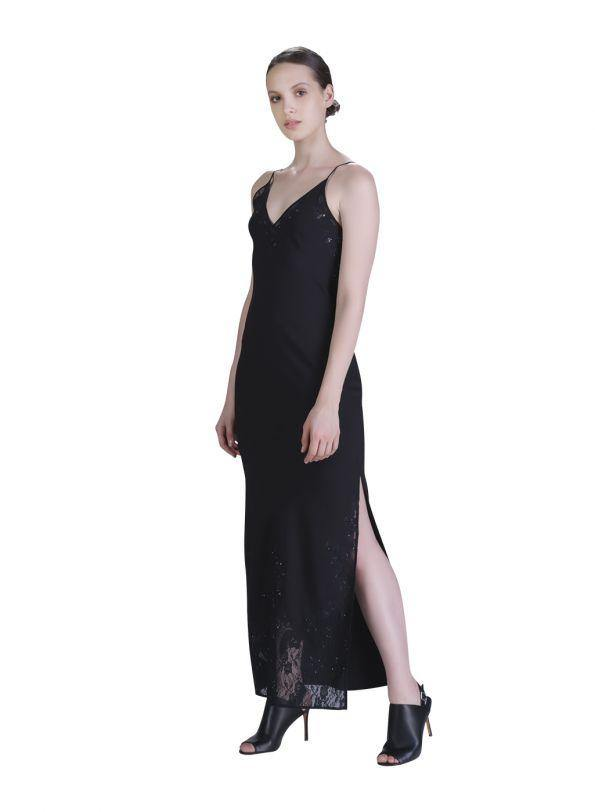 BLACK EMBROIDED MAXI DRESS - Genes online store 2020