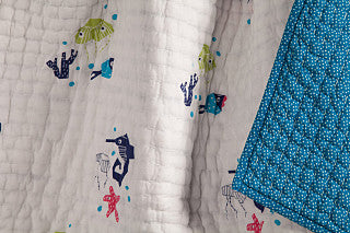 Oceanography Organic Cotton Hand-Quilted Blanket