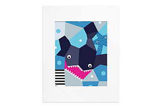 Oceanography Cubist Print Toddler Pillow, Shark
