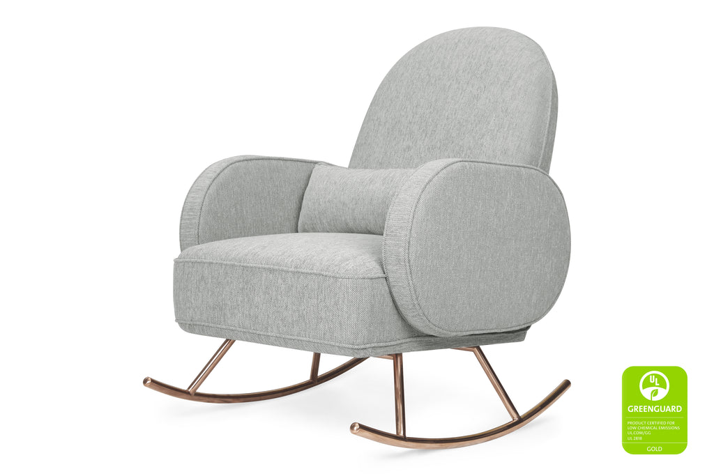 Compass Rocker in Light Grey Weave with Rose Gold Legs