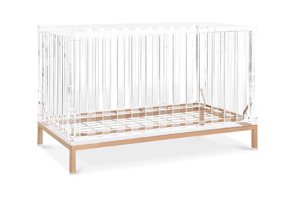 Nursery works luma convertible acrylic crib with rose gold legs