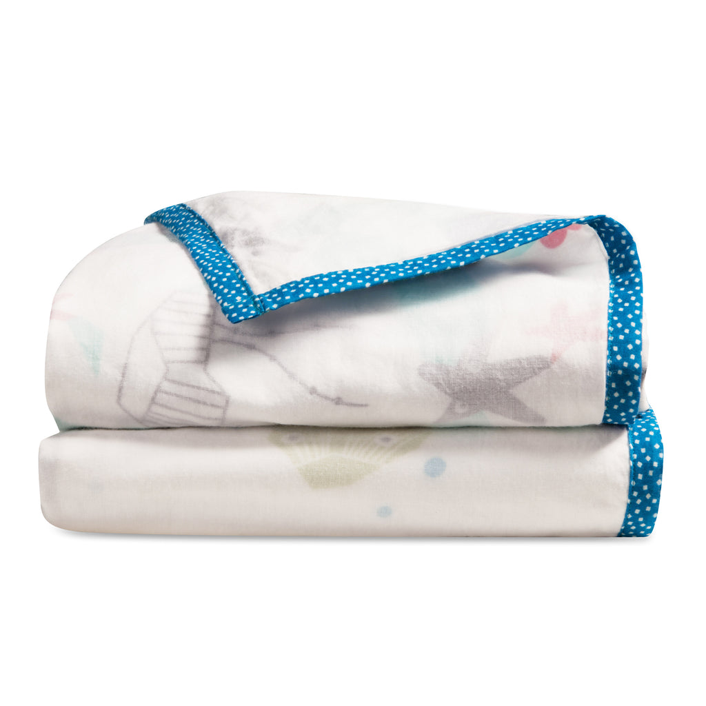 T19012,Oceanography 3-Layer Organic Muslin Blanket Sea Animals