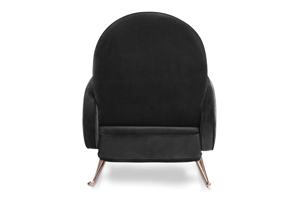 NW17087BLKV,Compass Rocker in Black Velvet with Rose Gold Legs