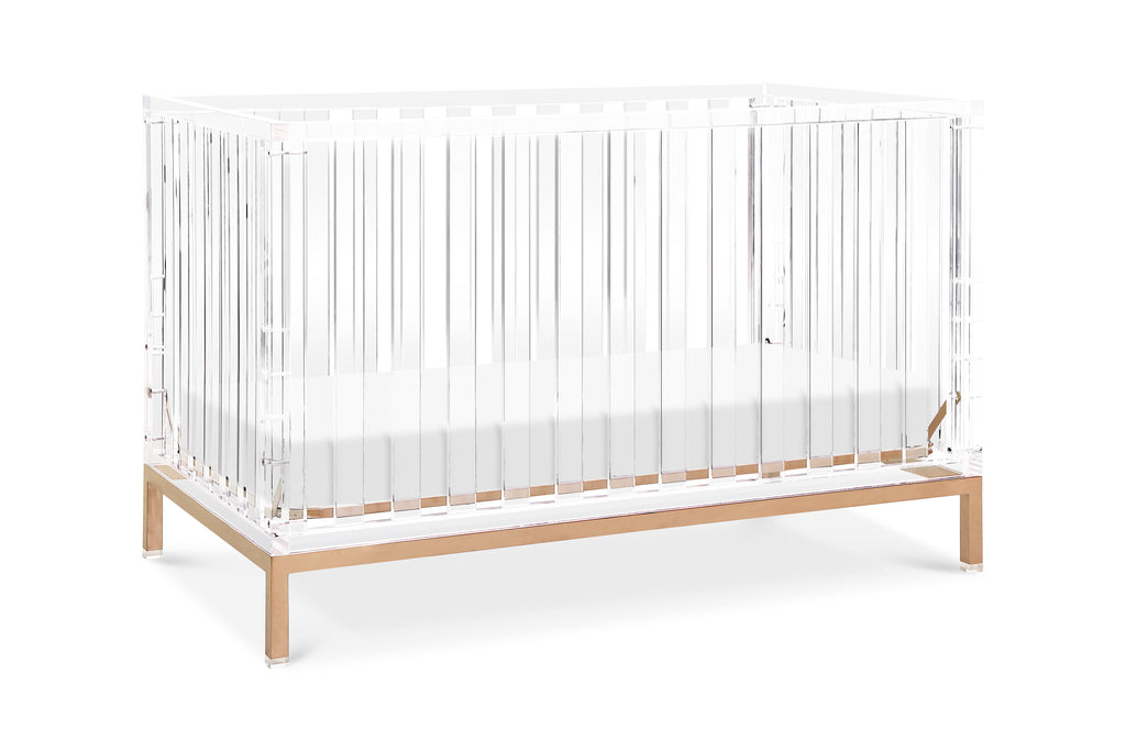 Nursery works luma convertible acrylic crib with rose gold legs Acrylic with Rose Gold