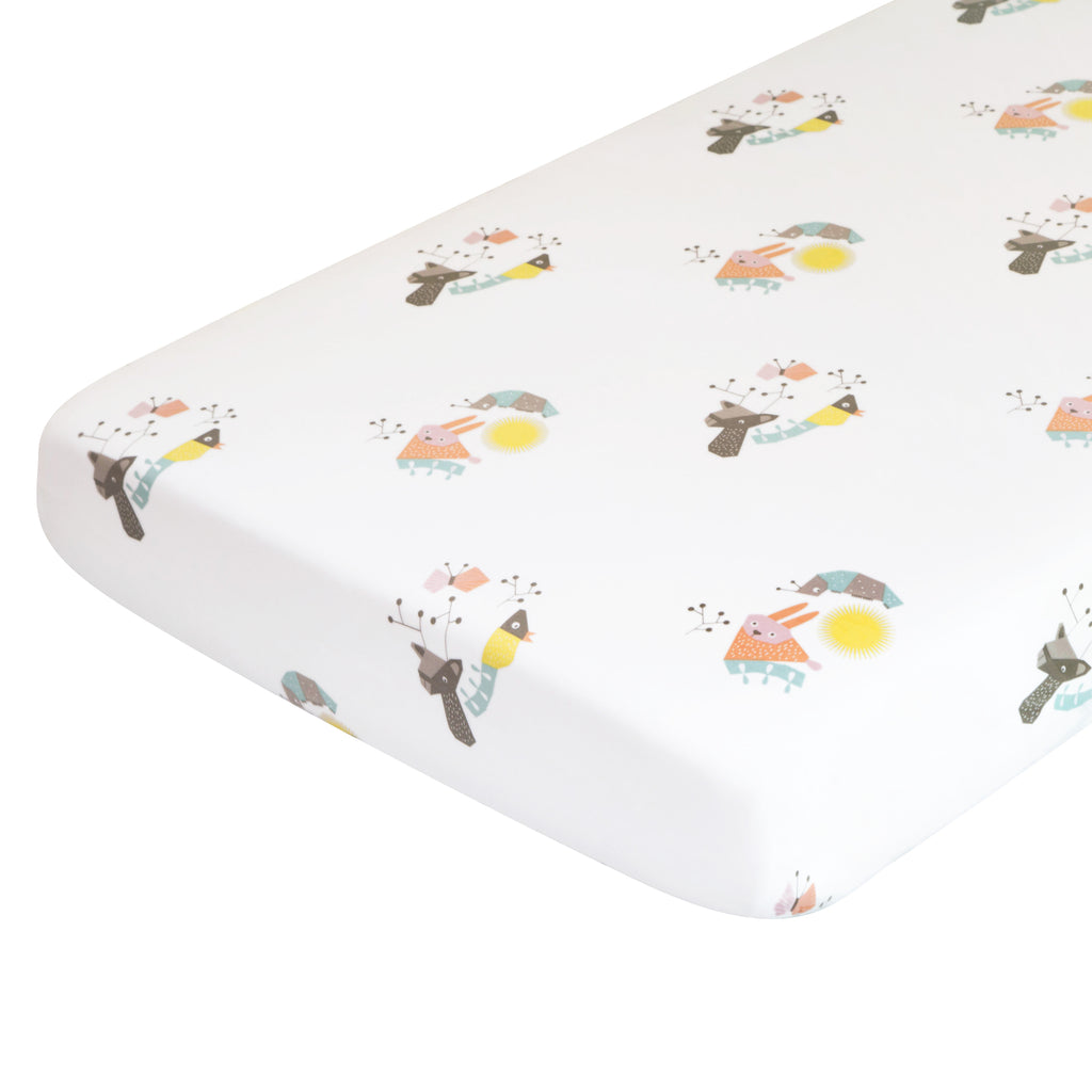 T18016,Menagerie Organic Cotton Percale Sheet Forest Animals