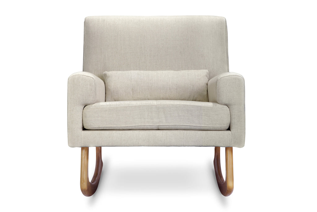 1085OML,Sleepytime Rocker in Oatmeal Linen Fabric with Light Legs