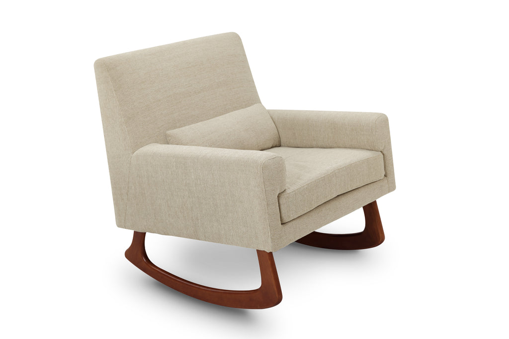1085AV,Sleepytime Rocker Beige Weave Fabric with Walnut Legs
