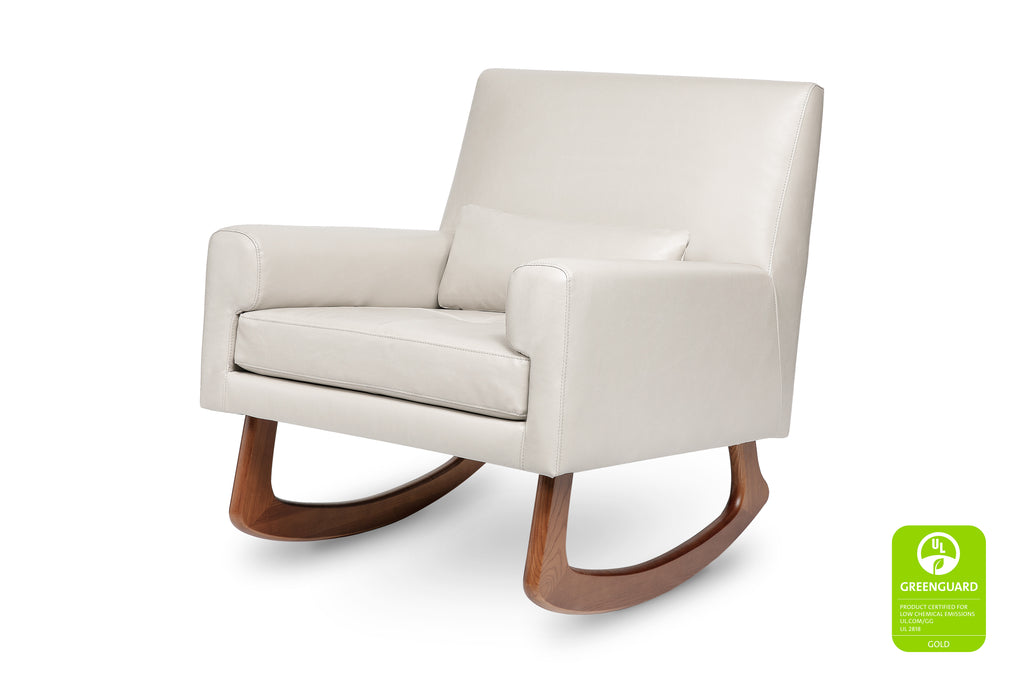 1085TPL,Sleepytime Rocker in PU Taupe Leather with Walnut Legs