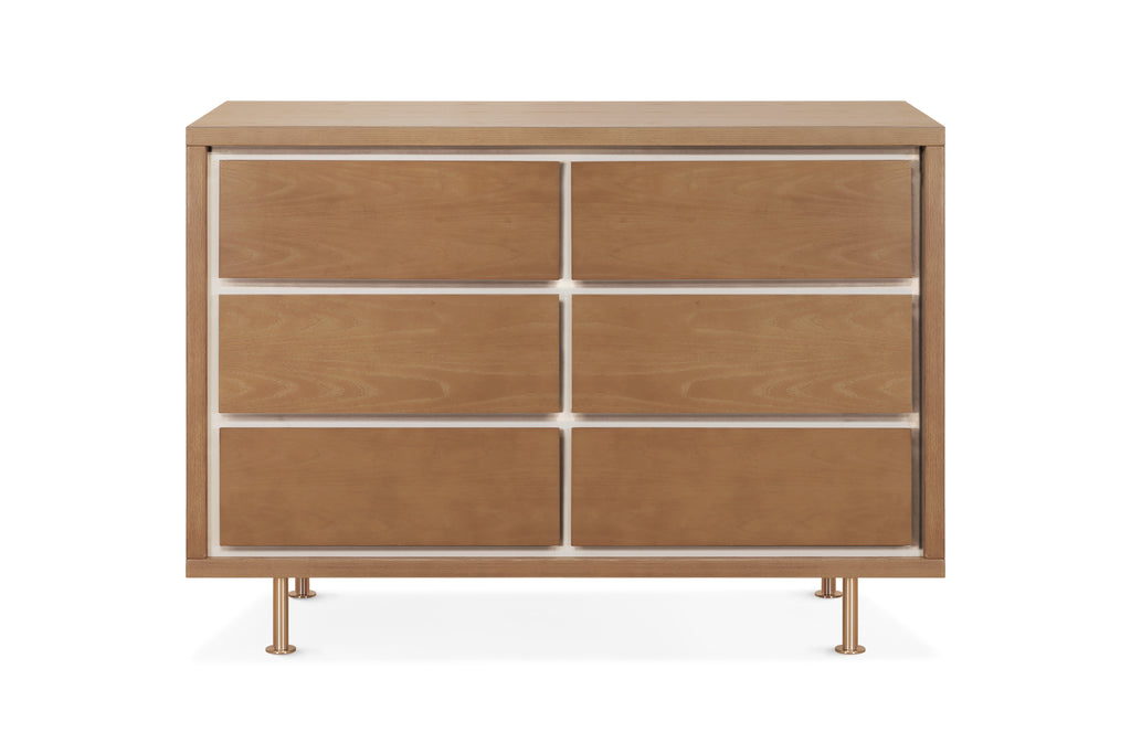 NW15026AY,Novella 6-Drawer Dresser in Stained Ash / Ivory Finish