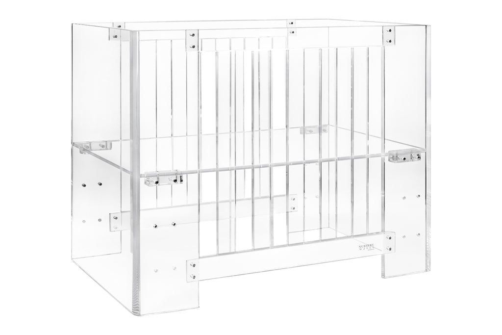 NW1060CA,Vetro Mini Crib w/Pure Core Mini Crib Mattress in Clear Acrylic