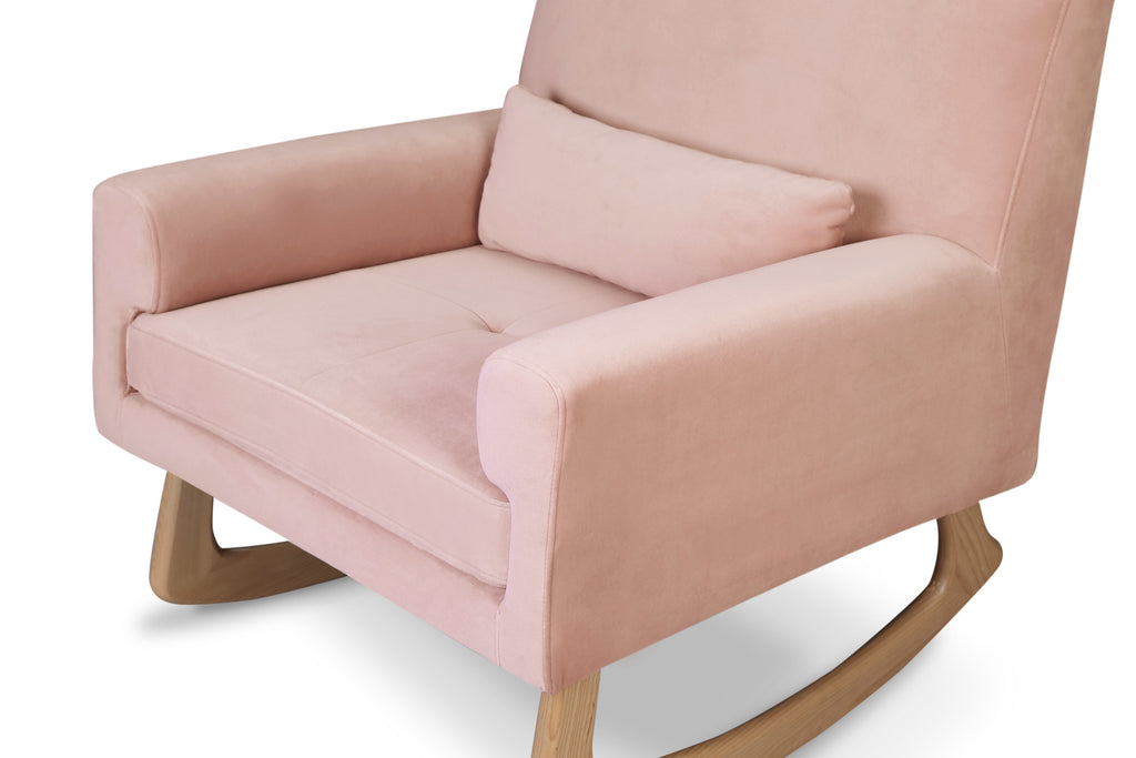 1085BPV,Sleepytime Rocker in Blush Velvet with Light Legs