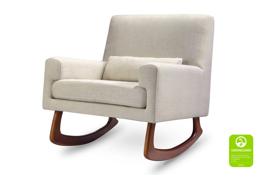1085OMA,Sleepytime Rocker in Oatmeal Linen Fabric with Walnut Legs