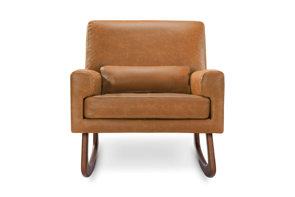 1085TAN,Sleepytime Rocker in PU Tan Leather with Walnut Legs