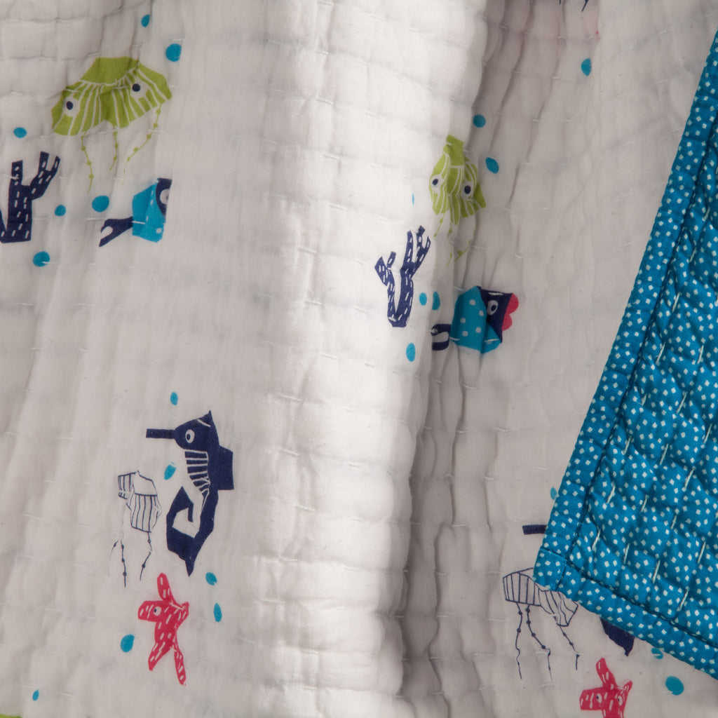 T19017,Oceanography Organic Cotton Hand-Quilted Blanket