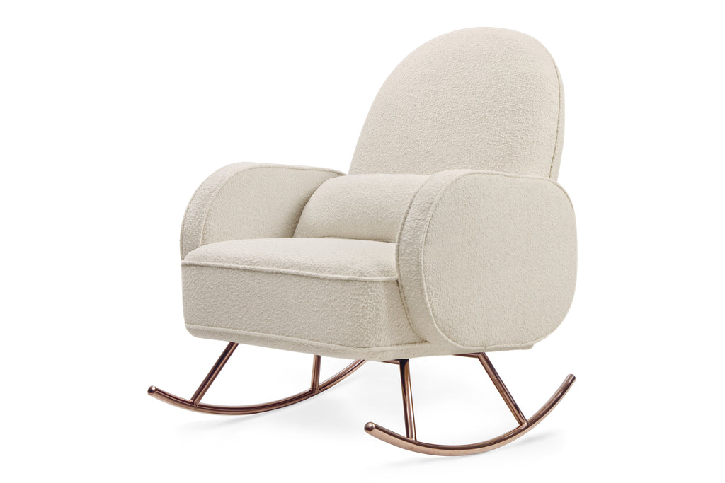NW17087WB,Compass Rocker in Ivory Boucle with Rose Gold Legs Ivory Boucle
